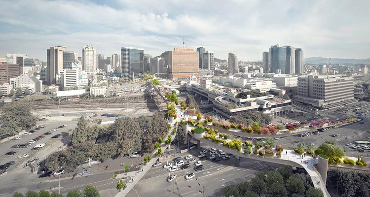 Le Skygarden de Séoul, ou comment transformer une portion d'autoroute abandonnée en espace vert urbain.