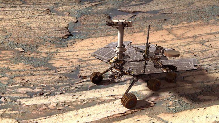 Vue d'artiste du rover Opportunity sur la planète Mars.