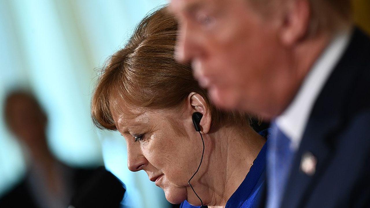 Angela Merkel au cours d'une conférence de presse avec Donald Trump à la Maison Blanche en avril2018. (Photo by Brendan Smialowski/AFP)