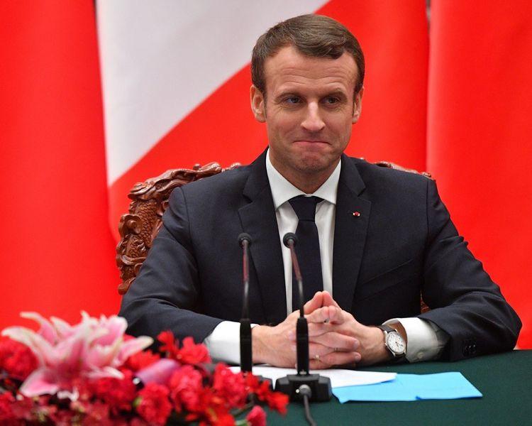 Le Président Emmanuel Macron, s'exprime lors d'un point de presse avec le président chinois Xi Jinping, en Chine.