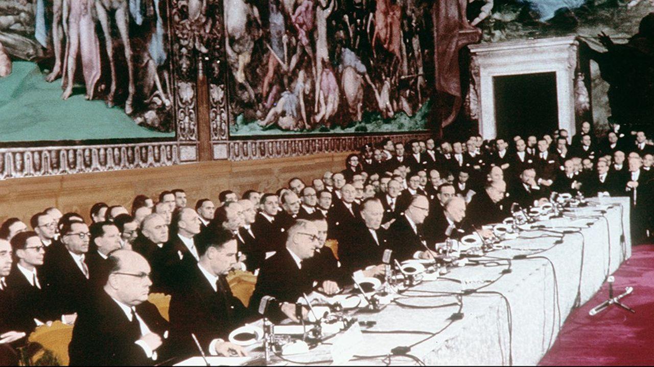 Les ministres des « Six » pour la signature du Traité de Rome le 25 mars 1957.