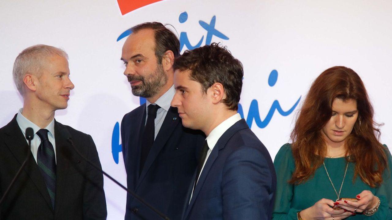 Le Premier ministre, ici entouré des ministres Franck Riester, Gabriel Attal et Marlène Schiappa, participera au rassemblement contre l'antisémitisme mardi soir à Paris.