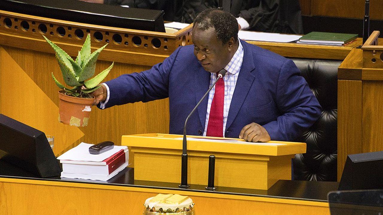 Le ministre des Finances Tito Mboweni était venu présenter son budget avec une plante emblématique de l'Afrique du Sud, l'aloes du Cap.