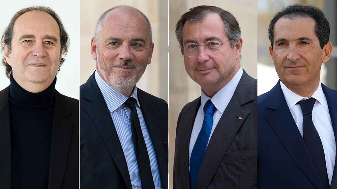 De gauche à droite Xavier Niel (Iliad-Free), Stéphane Richard (Orange), Martin Bouygues (Bouygues Telecom), Patrick Drahi (SFR).
