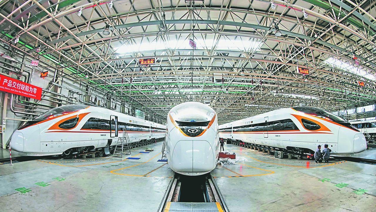 Ligne de fabrication des trains à grande vitesse « Fuxing » du groupe chinoisCRRC à Tangshan (nord-est de la Chine).