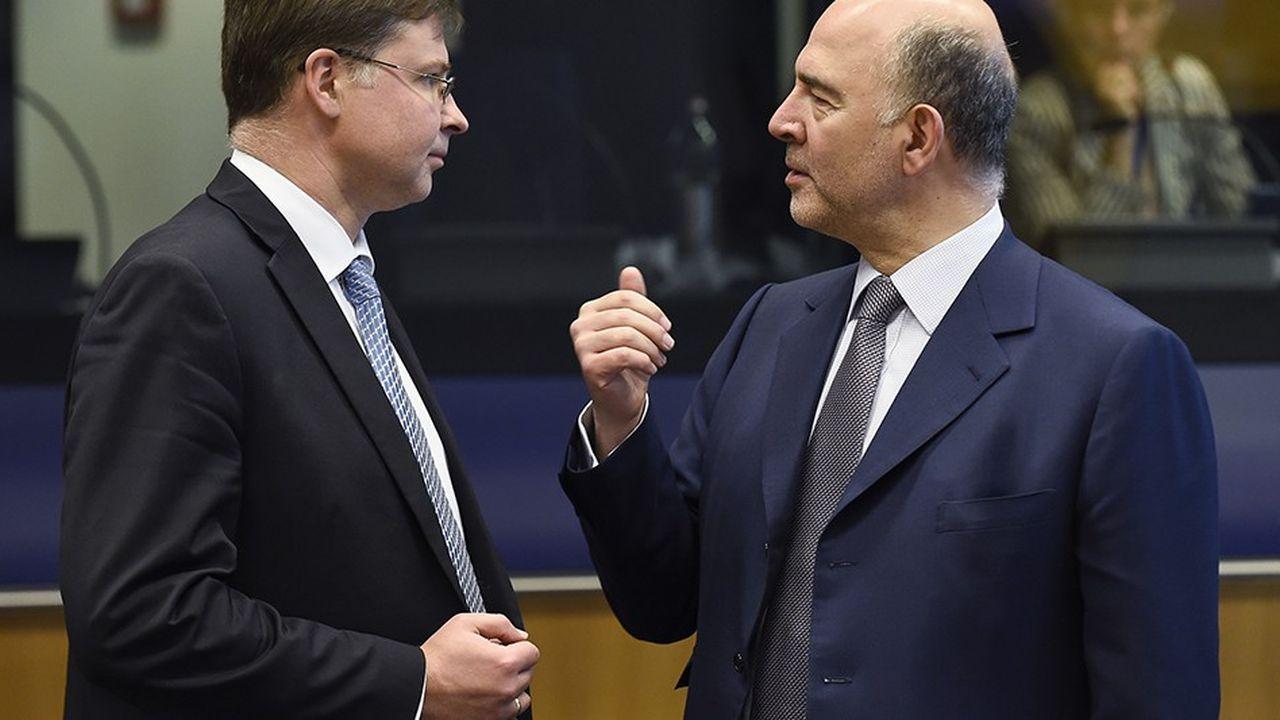 A l'occasion d'un nouveau point trimestriel sur l'état économique de l'UE, la Commission européenne (photo :Valdis Dombrovskis et Pierre Moscovici) a relancé les hostilités en exhortant la coalition populiste au pouvoir en Italie à « assainir ses finances publiques ».