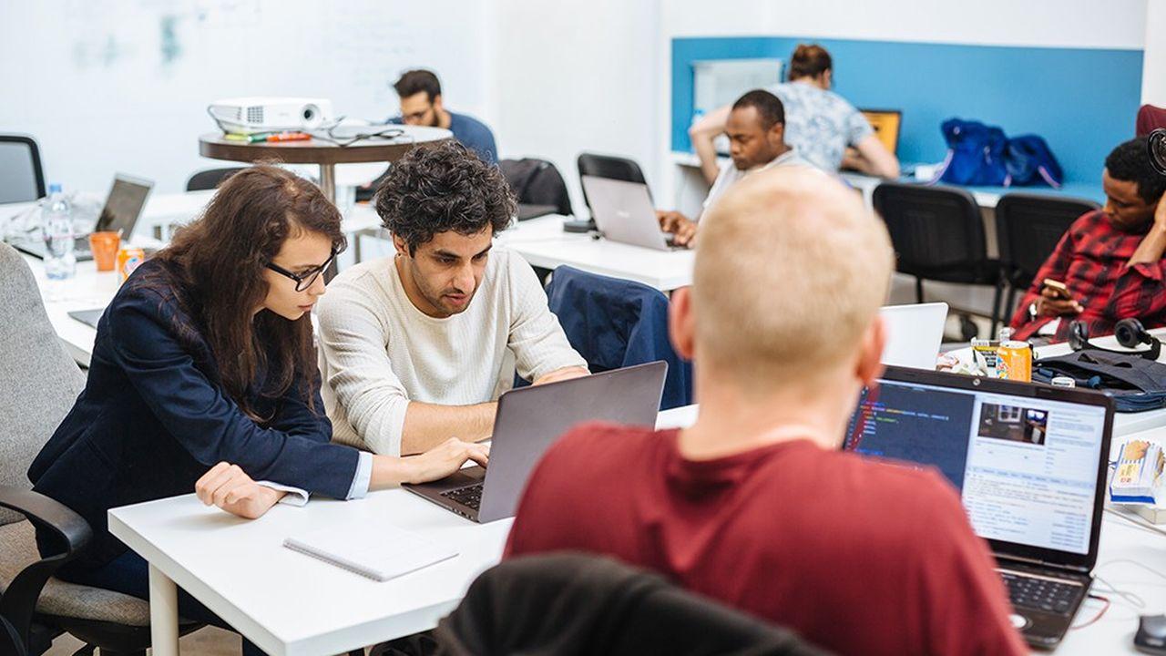 A l'école Simplon de Montreuil auprès de jeunes apprenant le code gratuitement dans le cadre du projet 'refugeek' financé par la Fondation de France.