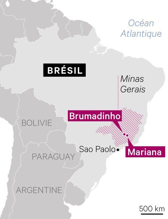 Carte de localisation du barrage de Brumadinho et de la mine Samarco de Mariana au Brésil