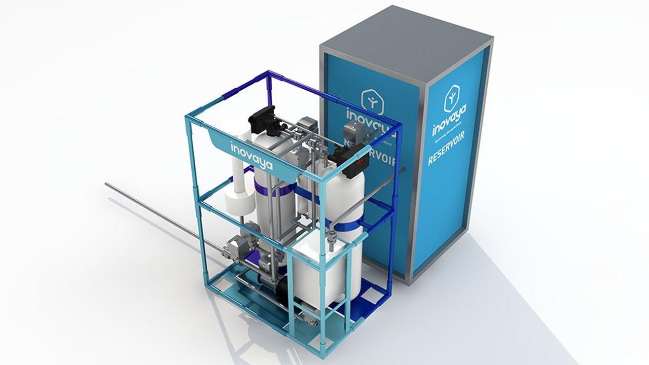 Inovaya adapte son caisson de traitement de l'eau, d'environ 1,5mètre cube, à chaque situation locale dans les zones de conflit ou difficiles d'accès.