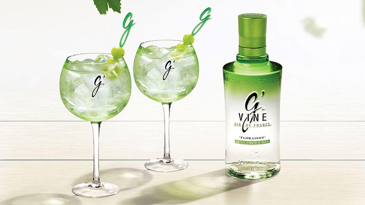 G'Vine, un gin fabriqué à partir de marc de raisin.Les exportations de gin français sont en hausse de 22 % avec un million de caisses de 12