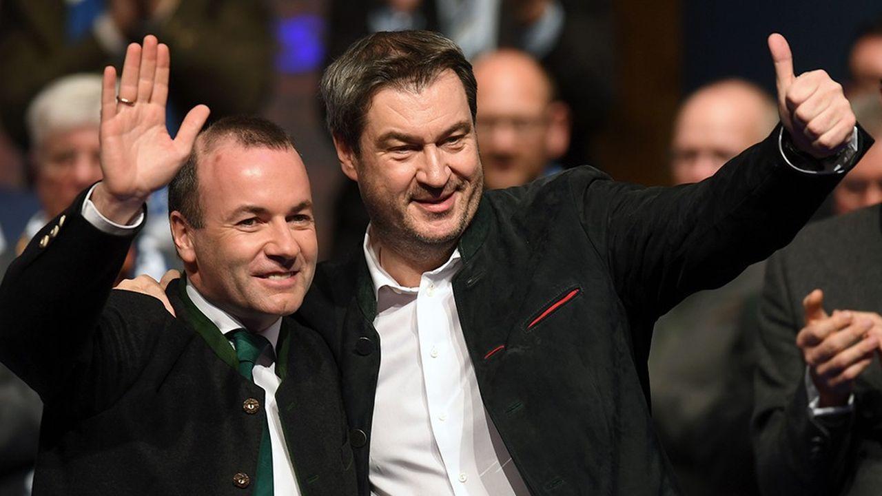 Le président de la CSU, Markus Söder (à droite), espère que Manfred Weber (à gauche), deviendra président de la Commission européenne. «Nous nous battrons pour cela, la campagne ne s'arrêtera pas le 26mai», a-t-il assuré mercredi.