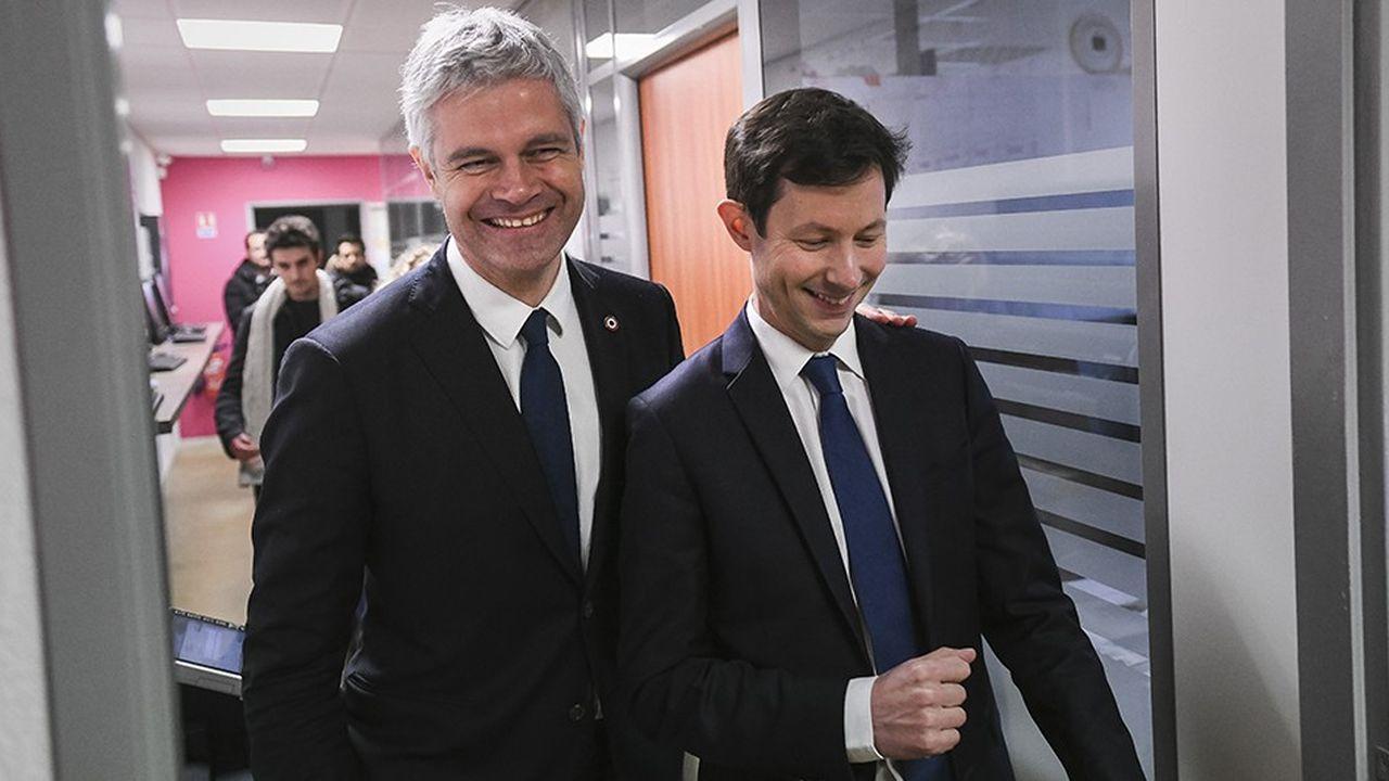 Laurent Wauquiez et la tête de liste de LR pour les européennes, François-Xavier Bellamy.