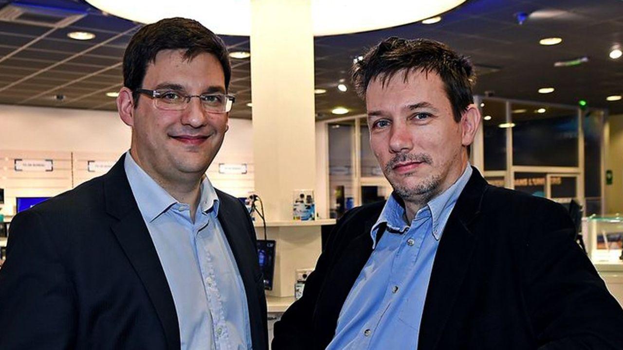 Olivier et Laurent de la Clergerie, respectivement directeur général et président de l'entreprise lyonnaise LDLC.