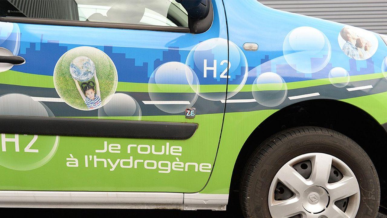 Détail de la Kangoo ZE, voiture roulant à l'hydrogène