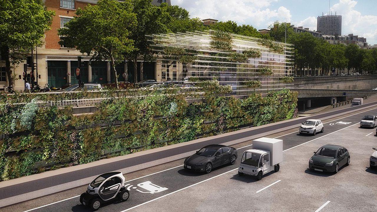 Coupler la location des locaux à une offre de véhicules de livraison électriques, c'est l'originalité de la « Folie Champerret » (DVVD architectes).