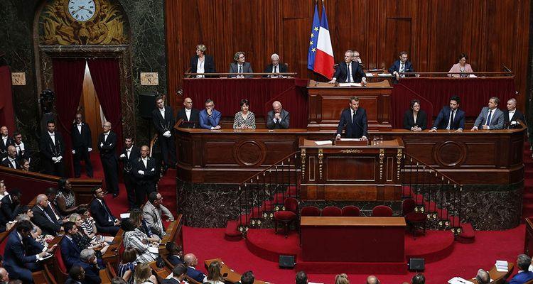 Emmanuel Macron devant les parlementaires réunis en Congrès à Versailles, le 9juillet 2018.