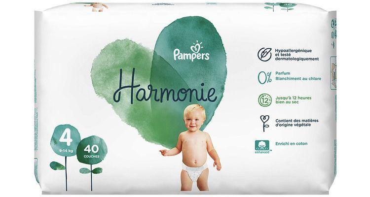 Les couches Pampers Harmonie ne contiennent aucun parfum, ni lotion, ni agent deblanchiment au chlore et aucun des 26 allergènes listés par l'Anses.