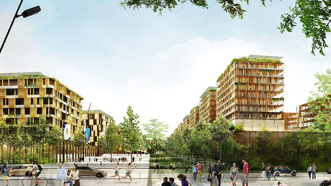 La Zac du village olympique et paralympique prévoit la construction de 278.000 mètres carrés de surface de plancher, en bord de Seine, à cheval sur les communes de Saint-Denis et Saint-Ouen, dans le département de Seine-Saint-Denis.