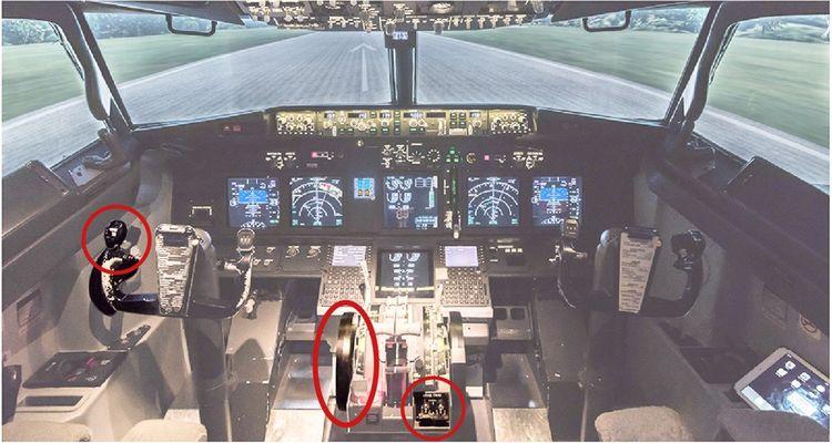 Un cockpit de Boeing 737 Max et les trois zones d'action qui auraient pu permettre aux pilotes de compenser manuellement les défauts du MCAS en vol.