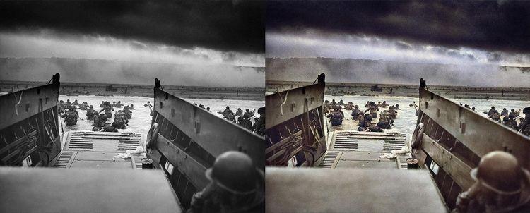 Photo du Débarquement de juin1944 par Robert F. Sargent (gauche) et colorisée par Colourise.sg (droite).