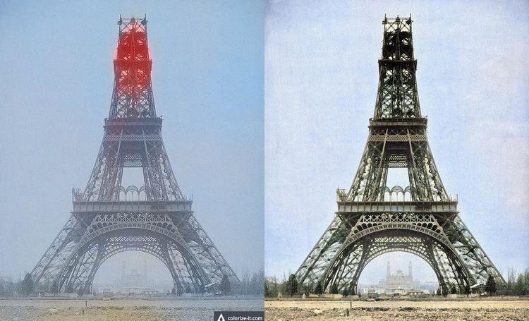 A gauche, la Tour Eiffel colorisée par Algorithmia, à droite par Colourise.sg.