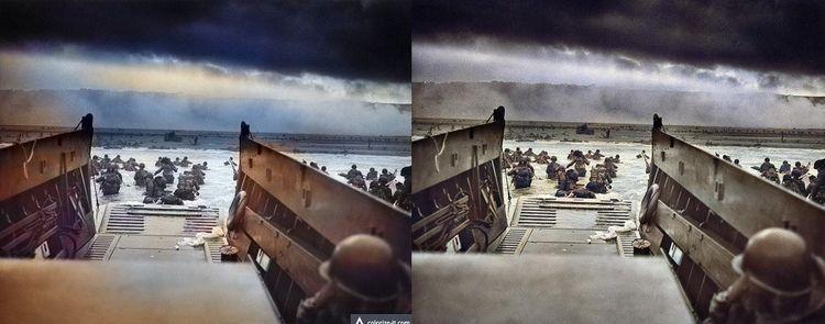 A gauche, photo du Débarquement colorisée par Algorithmia, et à droite par Colourise.sg.