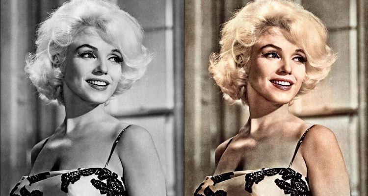 Marilyn Monroe en 1962 (à gauche) colorisée par colourise.sg (à droite).