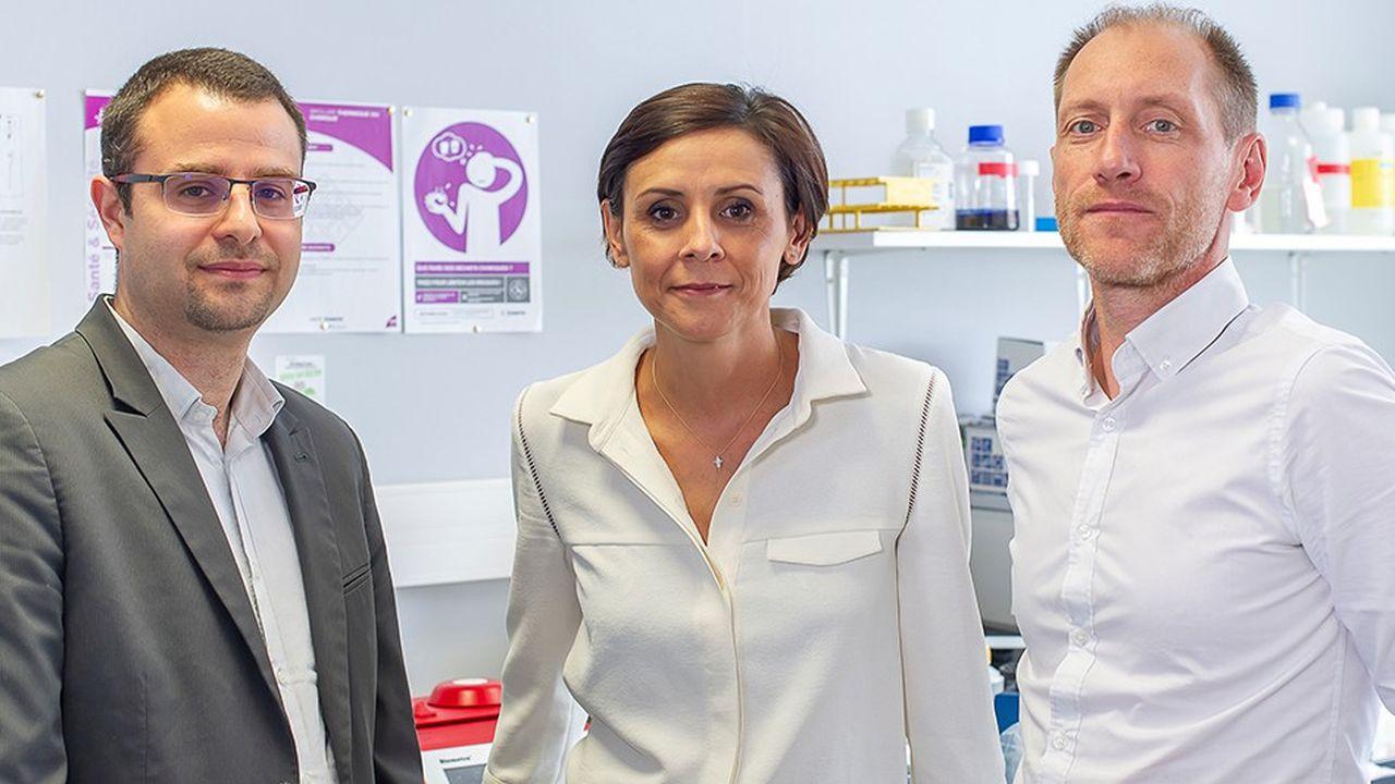 De gauche à droite: Matthieu Fisichella, Caroline Moreau et David Devos, les trois fondateurs de la start-up InBrain Pharma.
