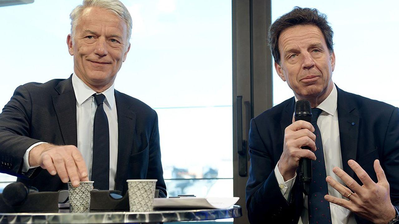 Geoffroy Roux de Bézieux (à droite) et Patrick Martin (à gauche), respectivement président et président délégué du Medef, plaident pour un «choc fiscal» à même de relancer la croissance, le pouvoir d'achat et l'emploi.