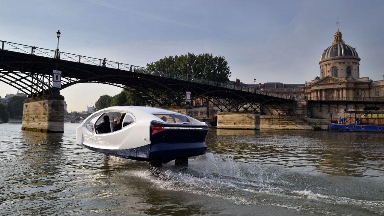 Le premier prototype de Sea Bubble sur la Seine a été testé en juin2017