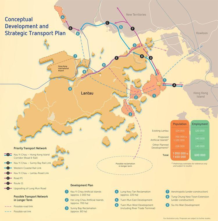 La carte du projet 'Lantau Tomorrow Vision': en rouge, les îles artificielles qui doivent être construites; en jaune, les territoires actuels de Lantau