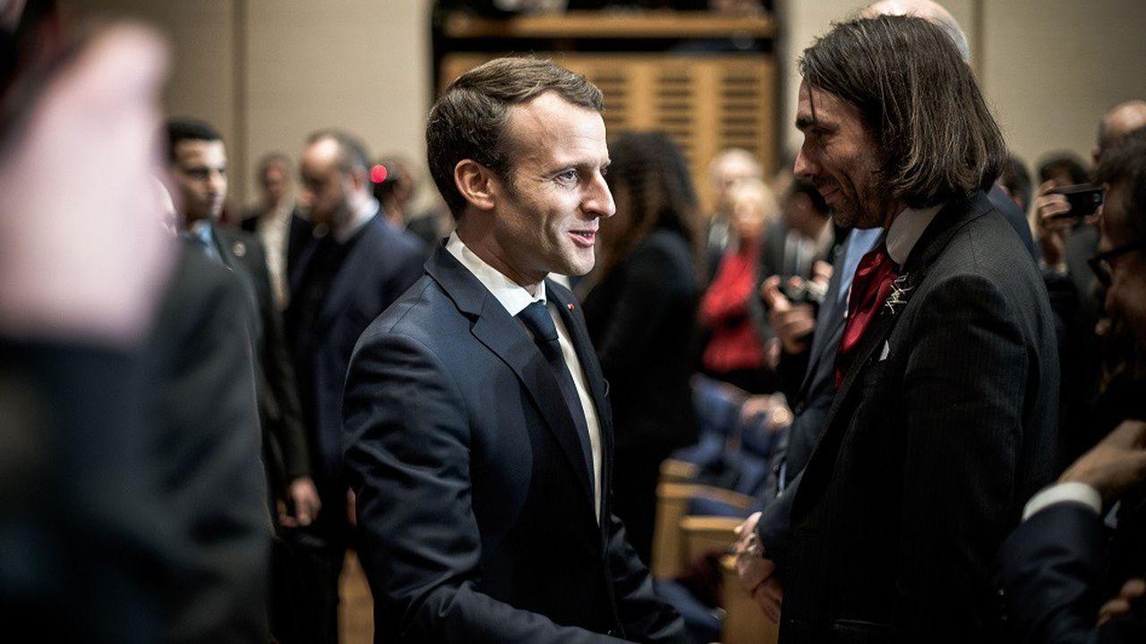 Emmanuel Macron et Cédric Villani étaient réunis le 29mars 2018 au Collège de France pour la présentation de la stratégie nationale en faveur de l'IA.