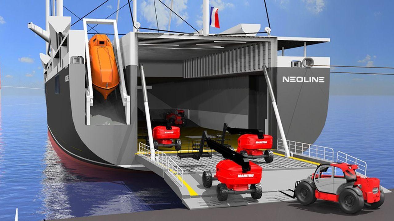 Le projet de voilier Neoline prévoit un trajet en boucle de 27 jours pour transporter les marchandises entre Saint-Nazaire, Bilbao, Charleston, Baltimore et Saint-Pierre.
