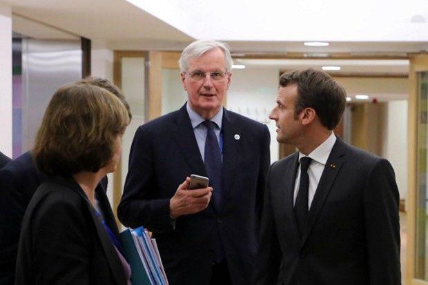 Nathalie Loiseau, Michel Barnier et Emmanuel Macron lors du sommet européen du 21 mars à Bruxelles