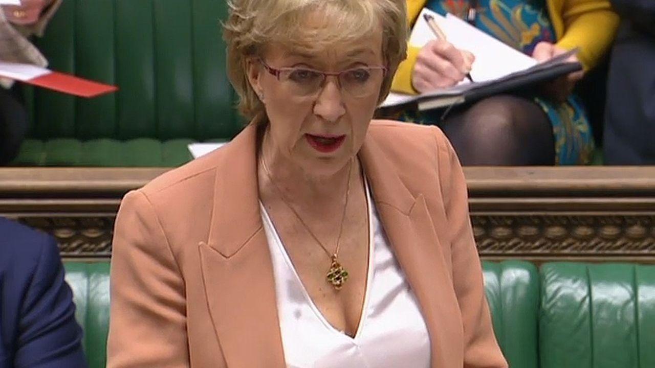 La ministre chargée des relations avec le Parlement, Andrea Leadsom, annonçant jeudi les modalités du scrutin à la Chambre des communes.