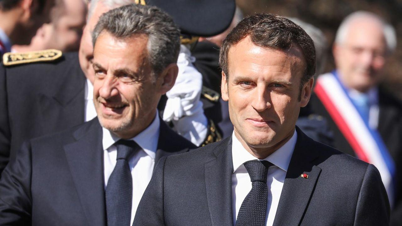 Emmanuel Macron et Nicolas Sarkozy lors de la cérémonie sur le plateau des Glières.