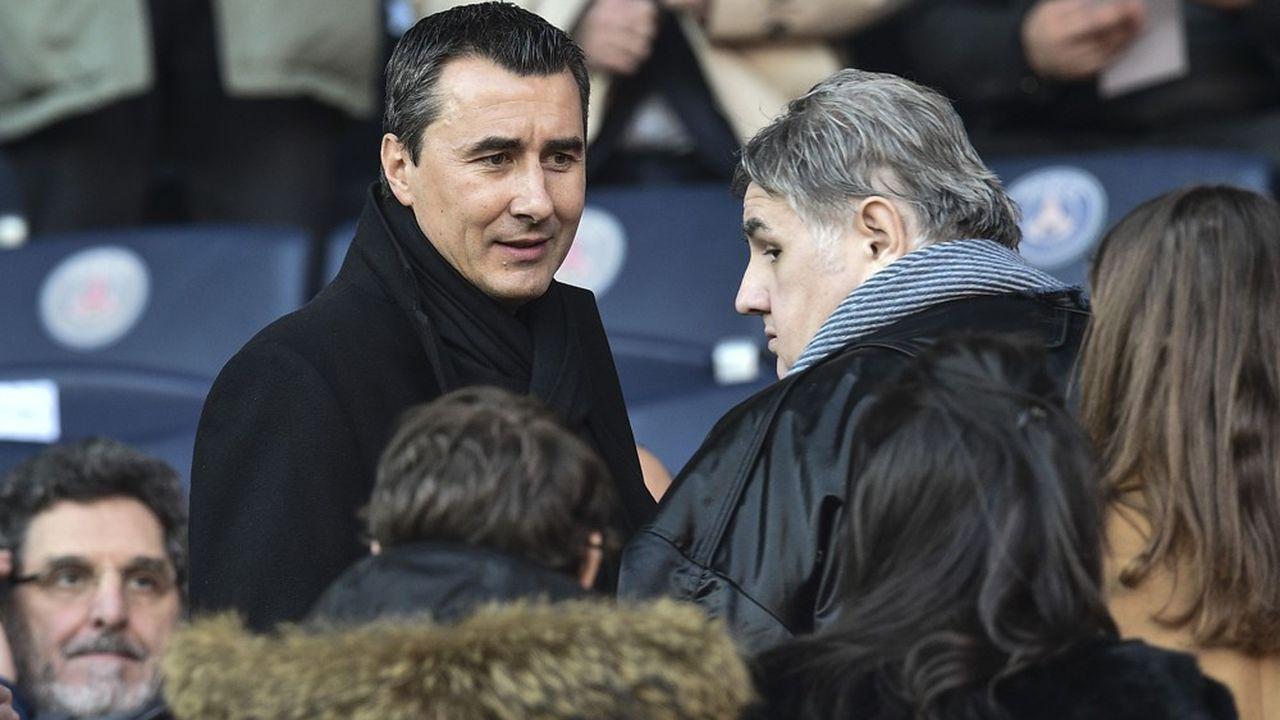 Marc Keller (à gauche) et Pierre Menes (à droite) au Parc des Princes en février 2018.