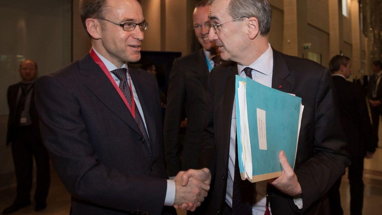 Jens Weidmann, président de la Banque fédérale d'Allemagne, etFrançois Villeroy de Galhau, gouverneur de la Banque de France.