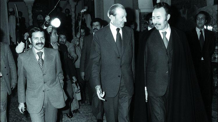 Abdelaziz Bouteflika, Houari Boumediene et le secrétaire général de l'ONU Kurt Waldheim à Alger en décembre 1977