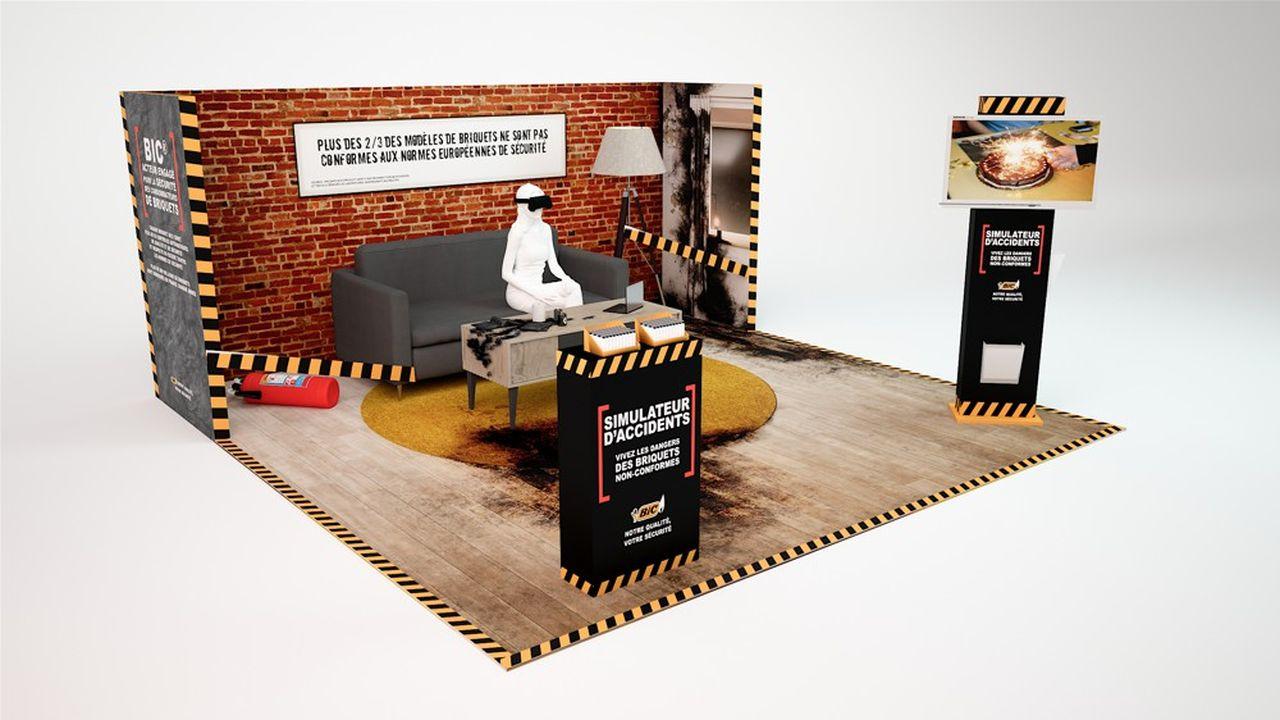 En cinq minutes, dans un appartement reconstitué, les participants se feront surprendre, en réalité virtuelle, par une flamme trop haute allumant une mèche de cheveux ou par l'explosion d'un briquet après une exposition prolongée à une température élevée.