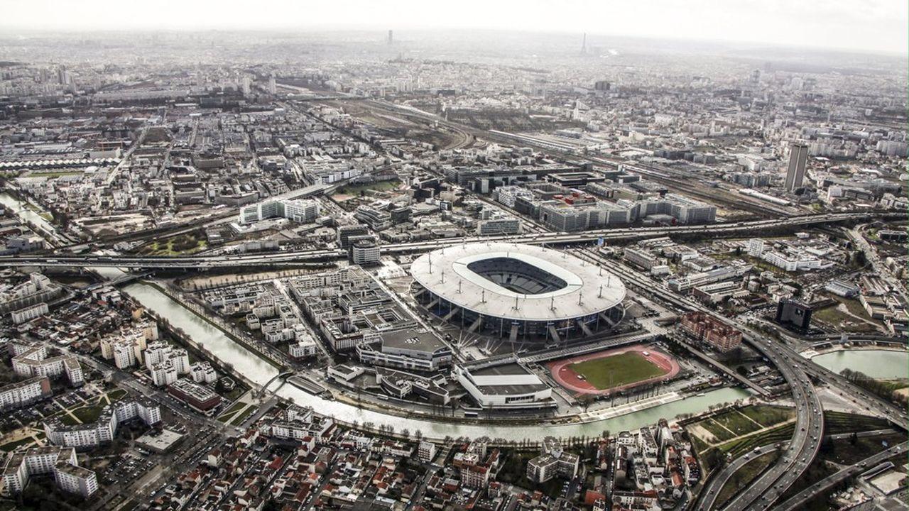 Paysage urbain du département de Seine Saint Denis, vu du cielLe village Olympique, à construire, se situera non loin du Stade de France, en Seine-Saint-Denis.