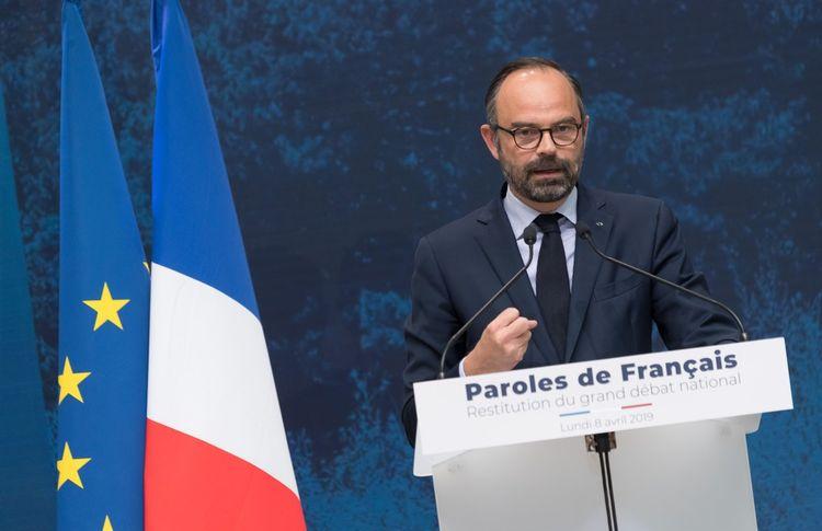 Edouard Philippe, lors de la matinée de restitution des contributions au grand débat, au Grand Palais.