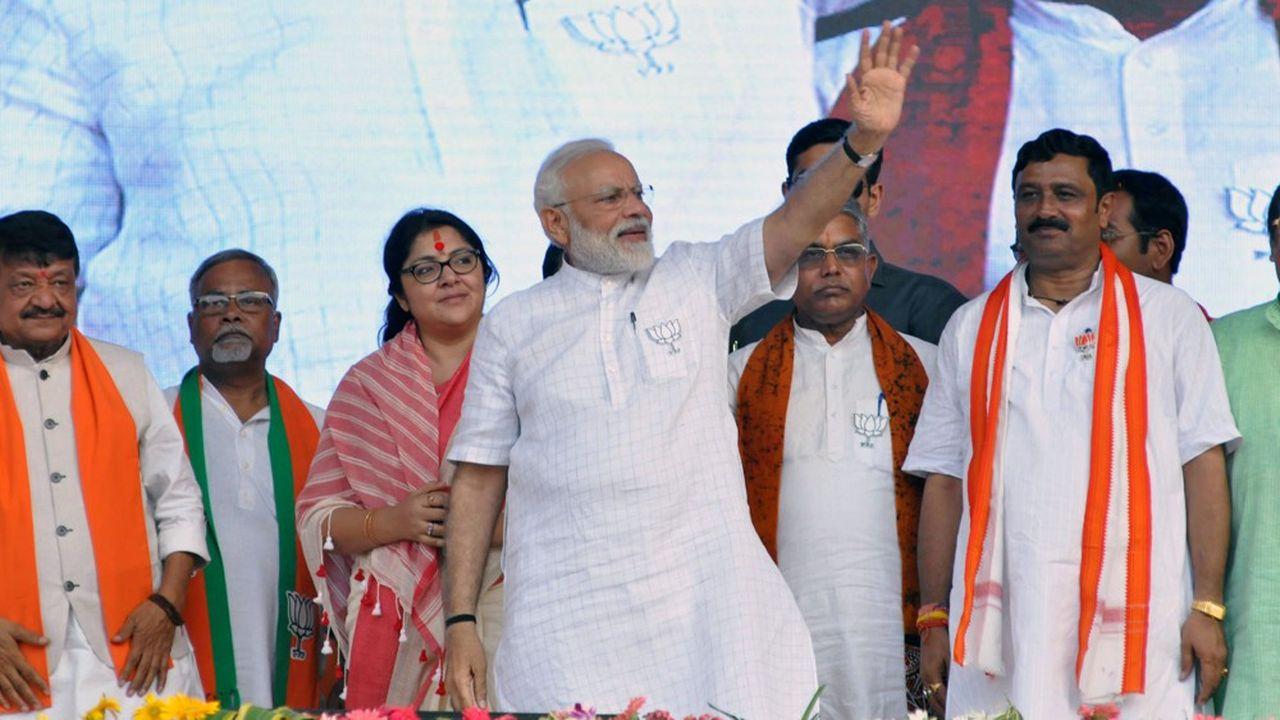 Le Premier ministre Narendra Modi lors d'un rallye de campagne.