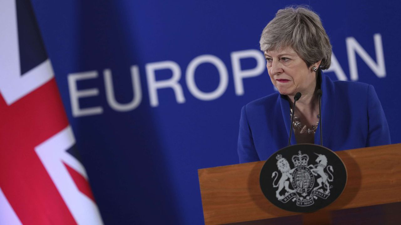 La Première ministre britannique, Theresa May, lors d'une conférence de presse à l'issue du sommet européen du 11avril 2019 qui lui a accordé une extension jusqu'au 31octobre pour quitter l'Union européenne.