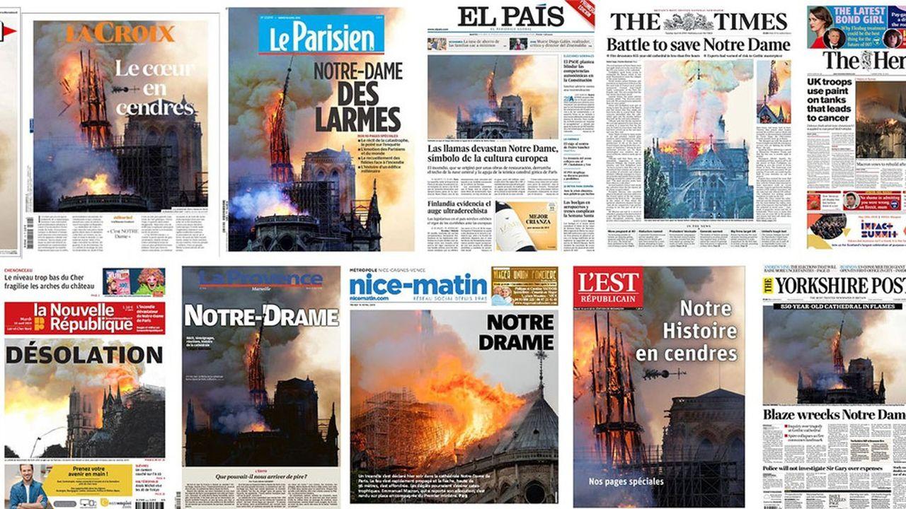 L'émotion devant l'incendie de Notre-Dame de Paris est à la une de très nombreux quotidiens en France et à l'étranger