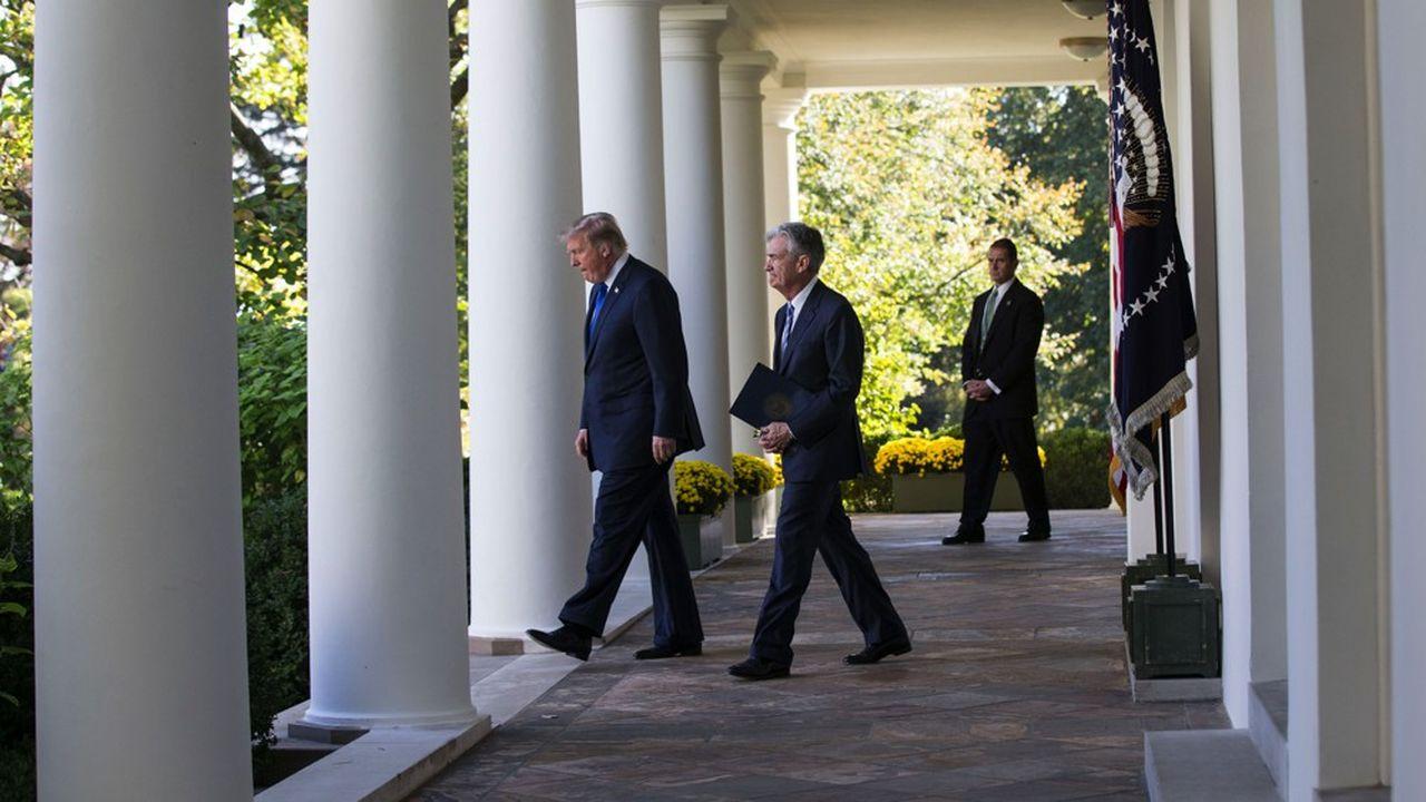 Le président Donald Trump et le patron de la Fed, Jerome Powell, à la Maison-Blanche.