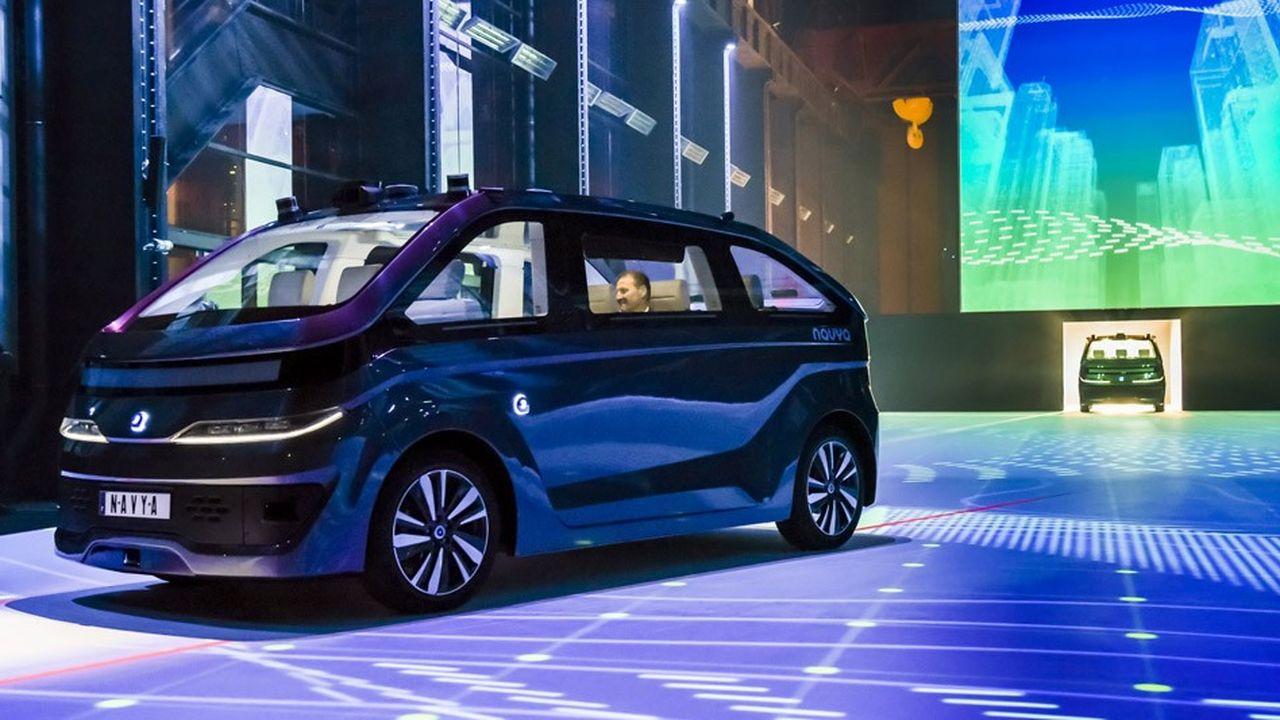 La voiture Autonom Cab, de Navya, est notamment équipée de dix capteurs lidars, six caméras et quatre radars.