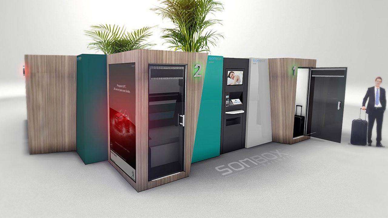 La start-up Sombox a développé une cabine de sommeil équipée d'un lit, des lampes de luminothérapie et d'une atmosphère sonore relaxante, pour déstresser et récupérer rapidement.
