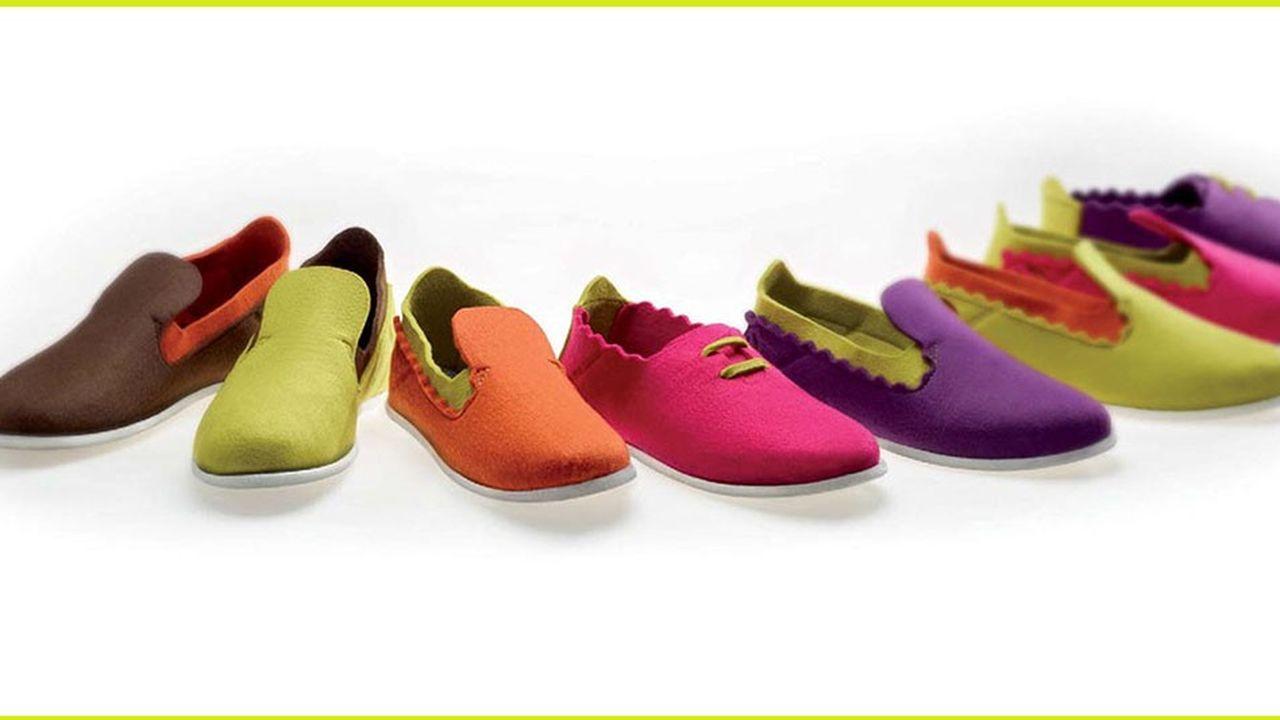 Le tricotage utilisé par Insoft permet de réaliser des chaussures sans opérations de découpe et simplifie les process industriels.