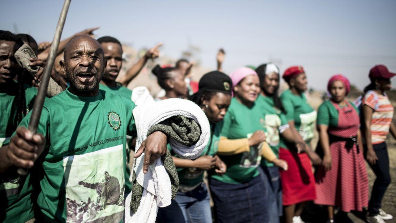 Les manifestations ont secoué l'industrie minière ces derniers mois. Ici, une commémoration cinq ans aprèsdu massacre de Marikana en 2012 lorsque 34 mineurs avaient été tués.